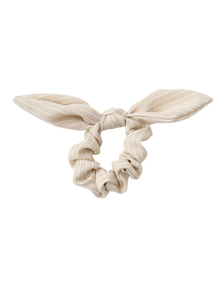 Linen Stripe Bunny Ear Scrunchie image 1