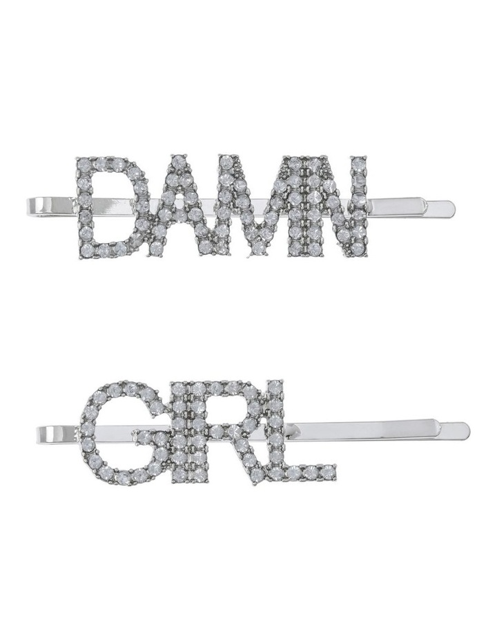 2 Pack Diamante Word Clip Hair Accessory image 1