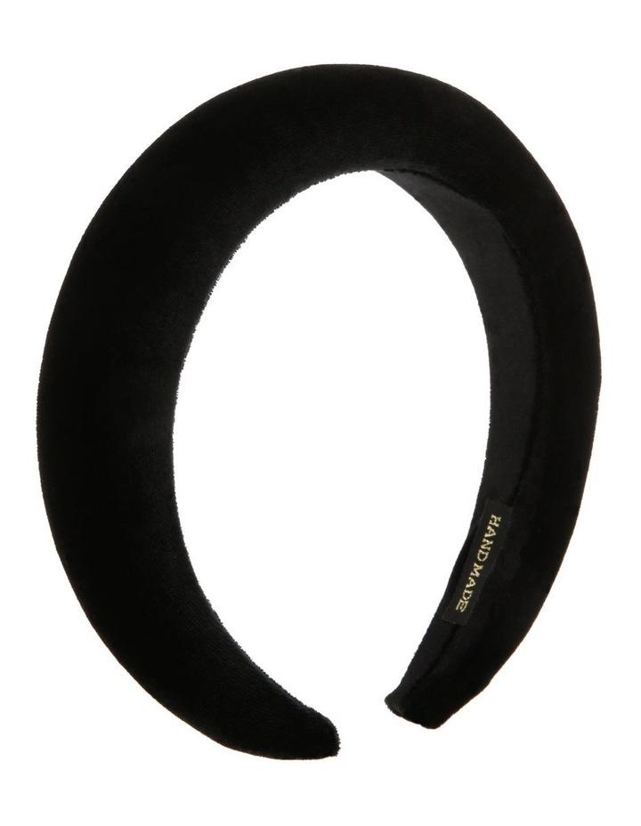 Velvet-Padded Headband in Black image 2