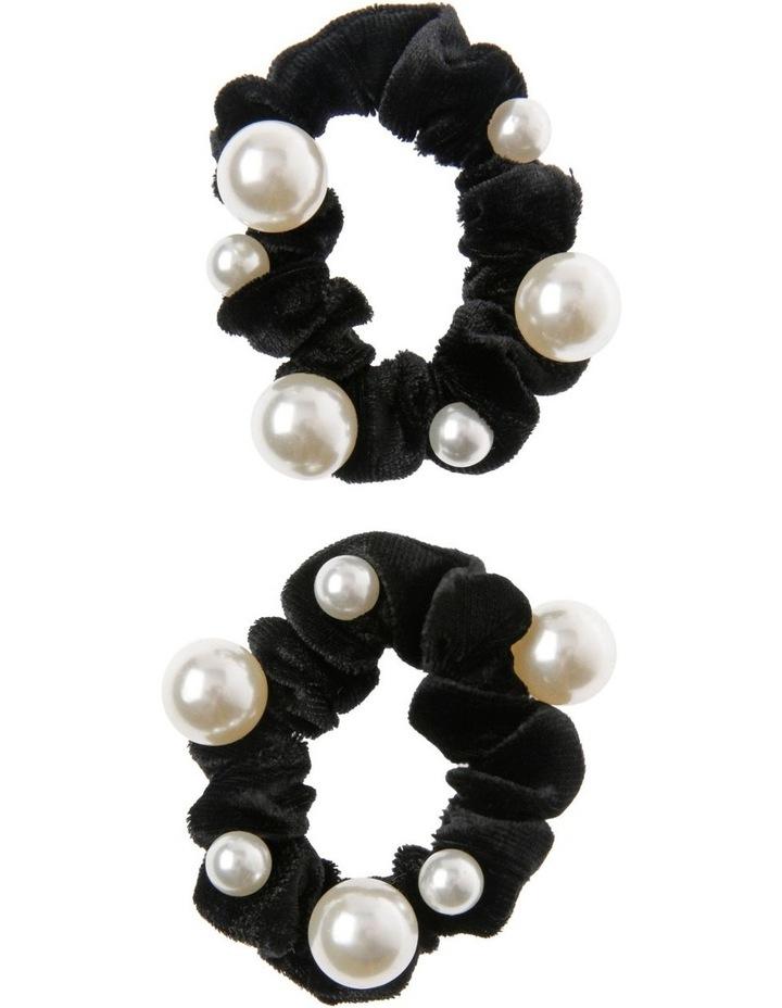 2 Pack Pearl Velvet Scrunchie image 1