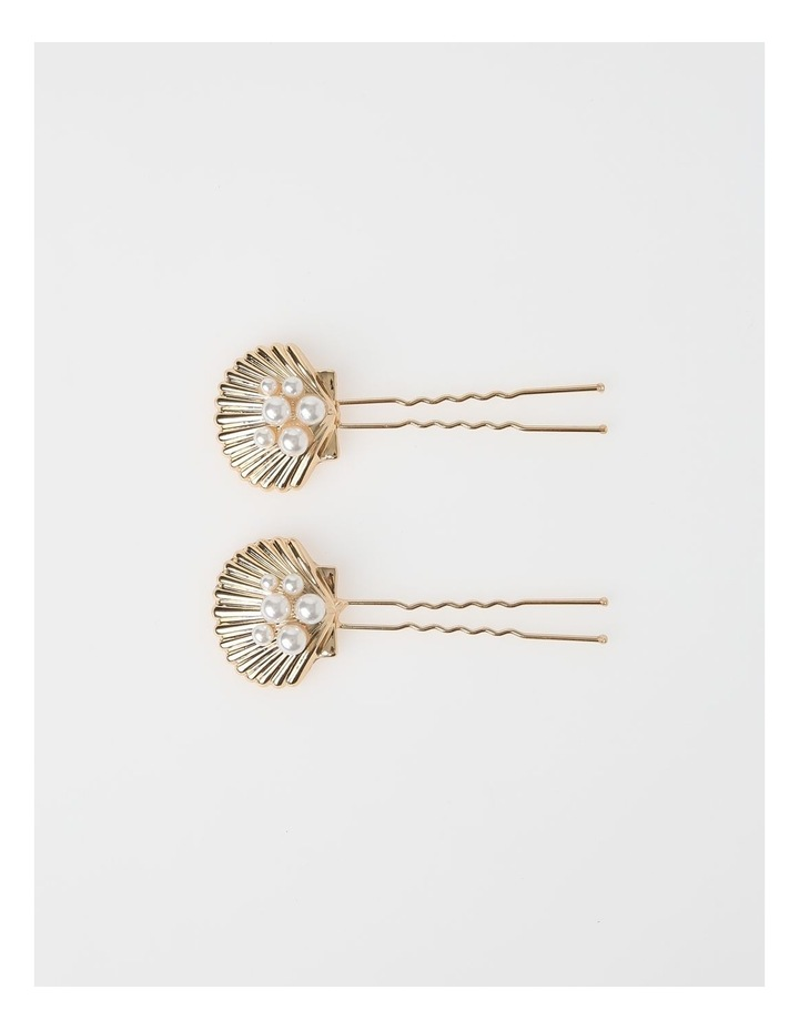 2 Pack Pearl Shell Hair Pins image 1