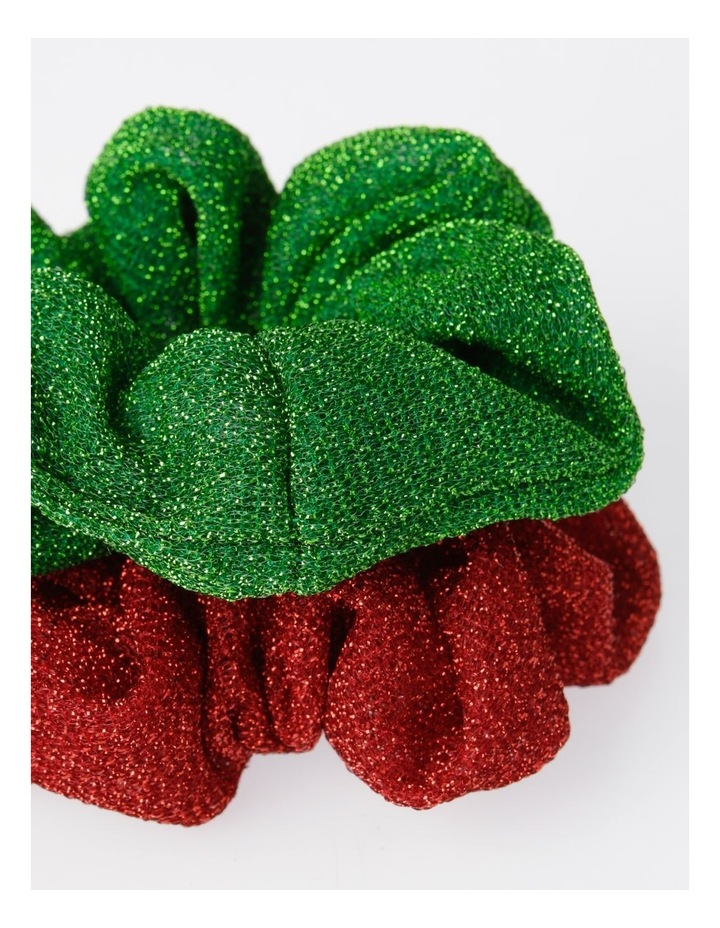 2 Pack Xmas Glitter Scrunchies Hair Accessory image 2