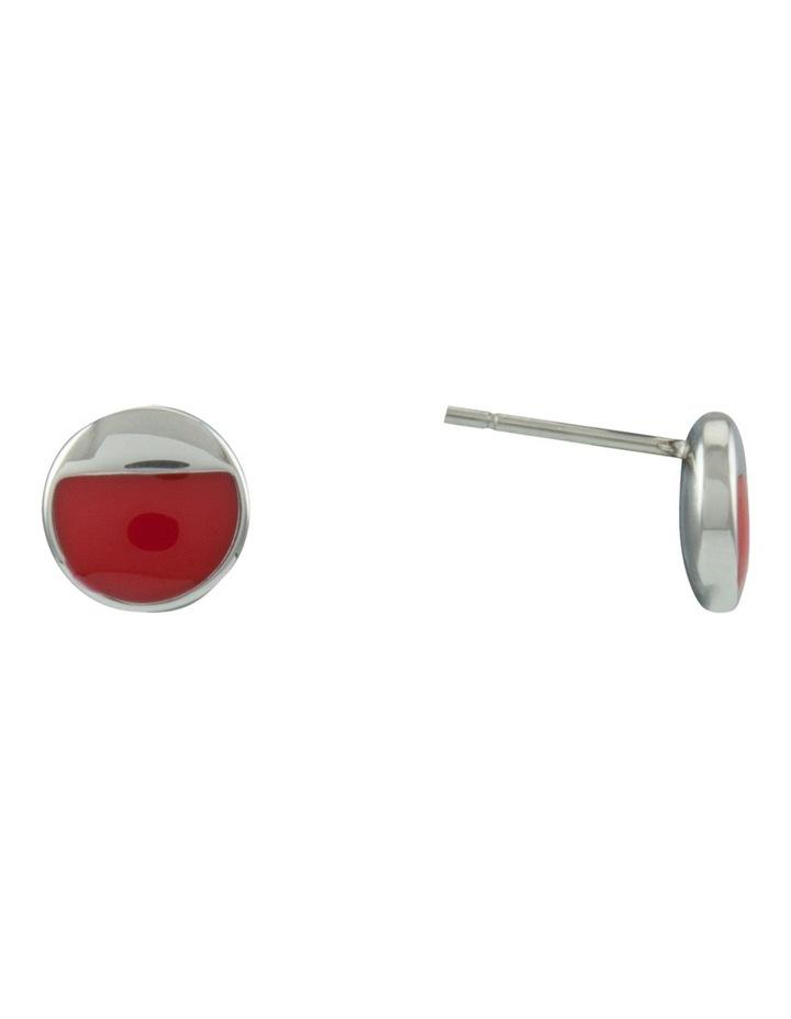 Enamel Half Spot Stud Earring E606.1796 image 1