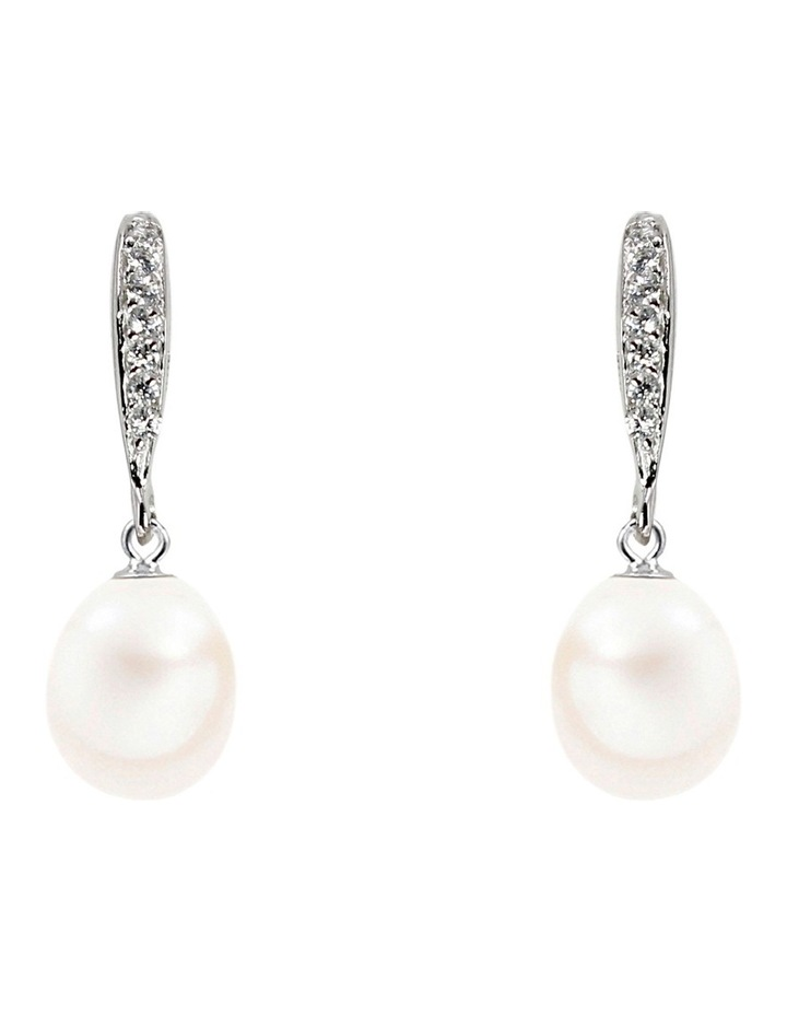 M0911AE-002 8-9mm Freshwater Pearl & Crystal Drop Earrings image 1