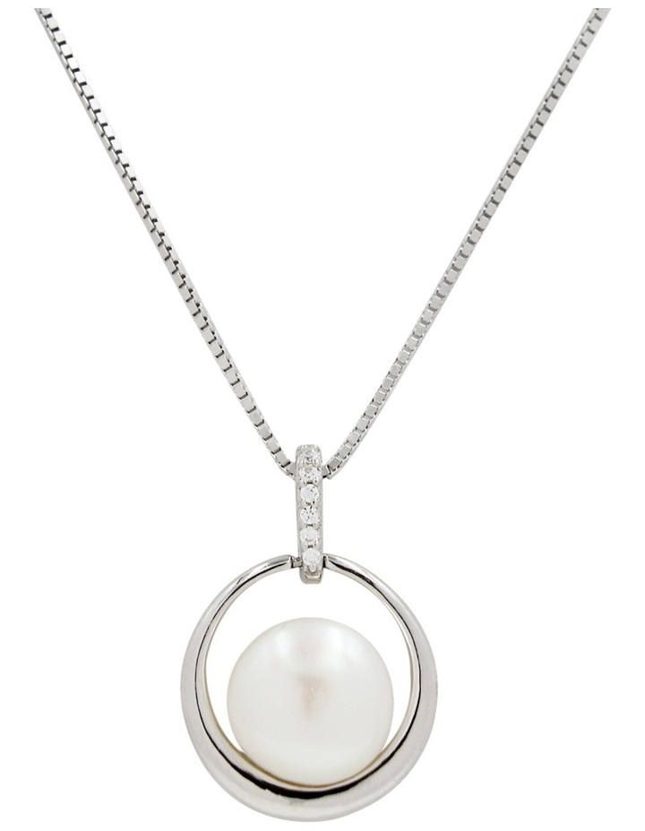 Silver Freshwater Pearl CZ Pendant and Chain - 45cm image 1
