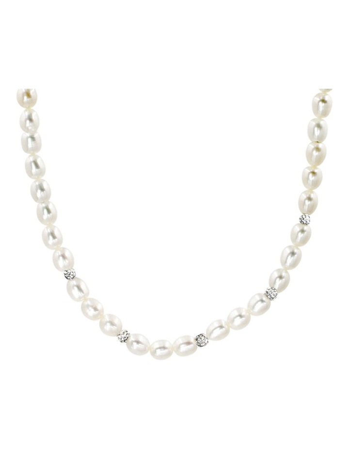 7-8mm Freshwater Pearl with Crystal Roundels Short Necklace image 1