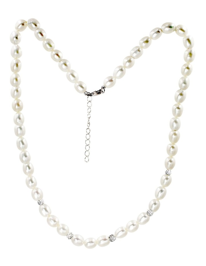7-8mm Freshwater Pearl with Crystal Roundels Short Necklace image 2