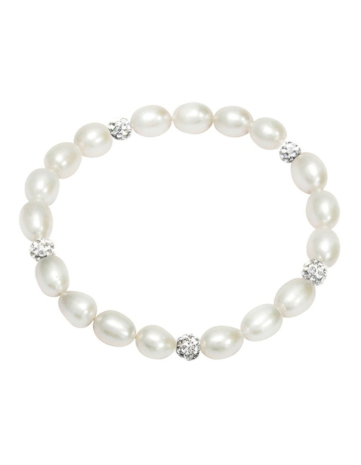Freshwater Pearl and Crystal Roundels Stretch Bracelet image 1