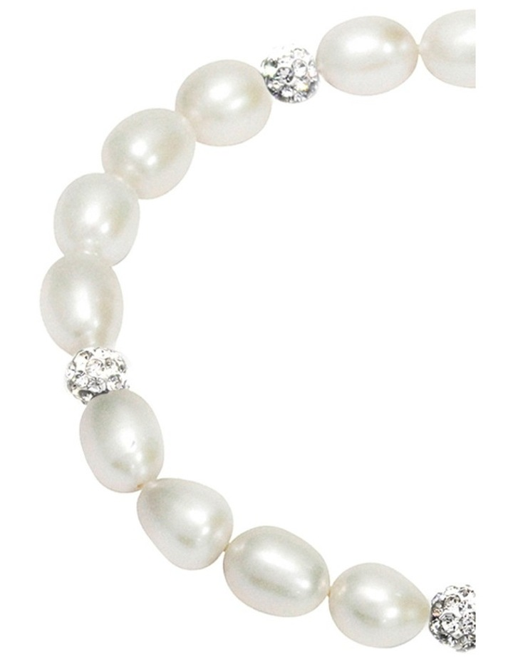 Freshwater Pearl and Crystal Roundels Stretch Bracelet image 3