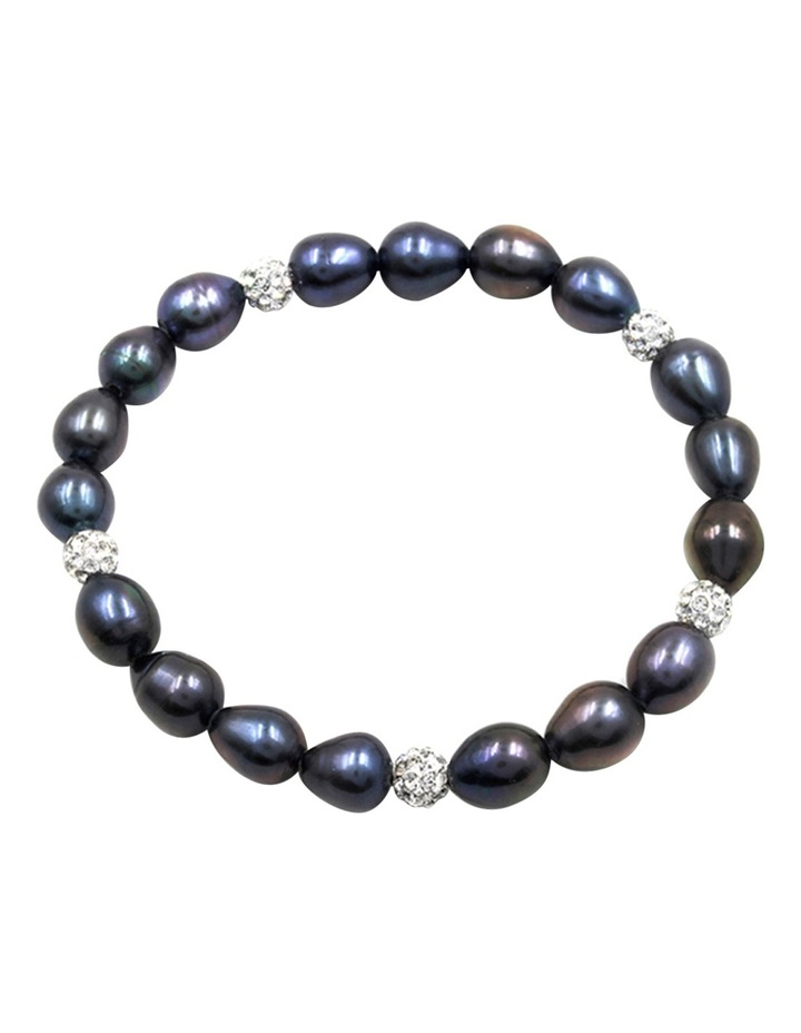 7-8mm Freshwater Pearls and Crystal Roundels Stretch Bracelet image 1