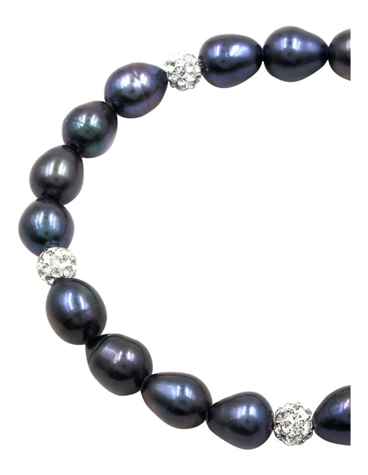 7-8mm Freshwater Pearls and Crystal Roundels Stretch Bracelet image 3