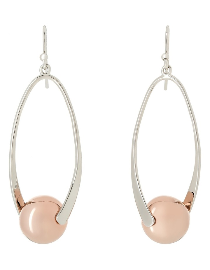 Ger7951M Pearl Story Rhodium And Rose Gold Tone Earrings image 1