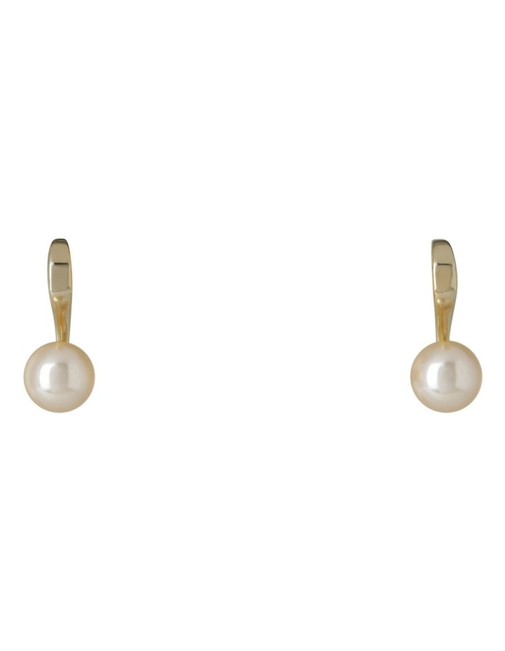 Small Single Faux Pearl on Curved Gold-Tone Fitting Earrings image 1
