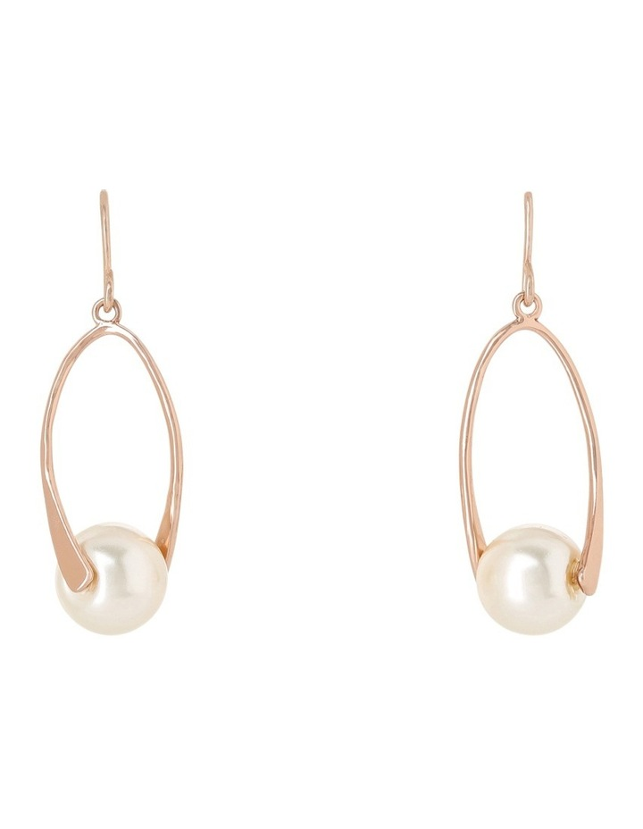 Oval Metal Drop With Faux Pearl Earrings Ger7951M image 1