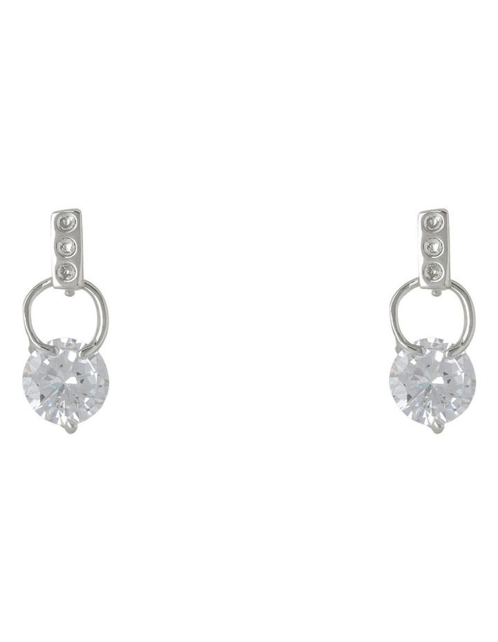Gje903M Tiny Crystal On Small Ring Fitting Earrings image 1