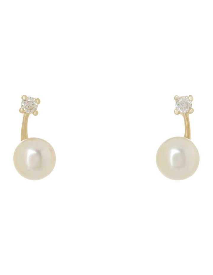 Single CZ With Faux Pearl On Curved Gold Bar image 1