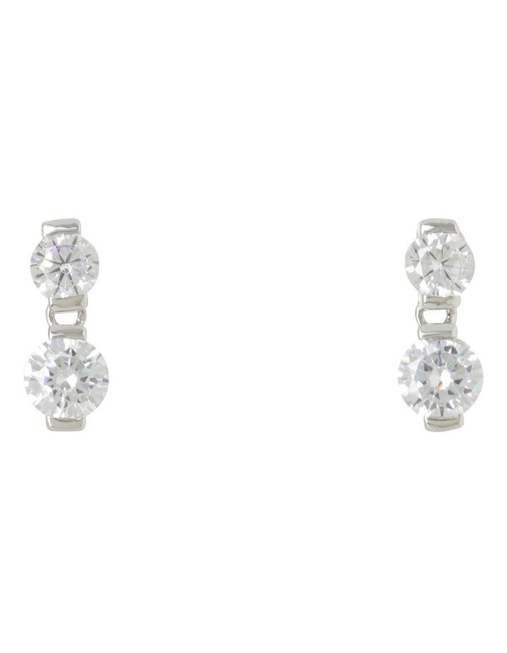 Small Double CZ Earrings image 1
