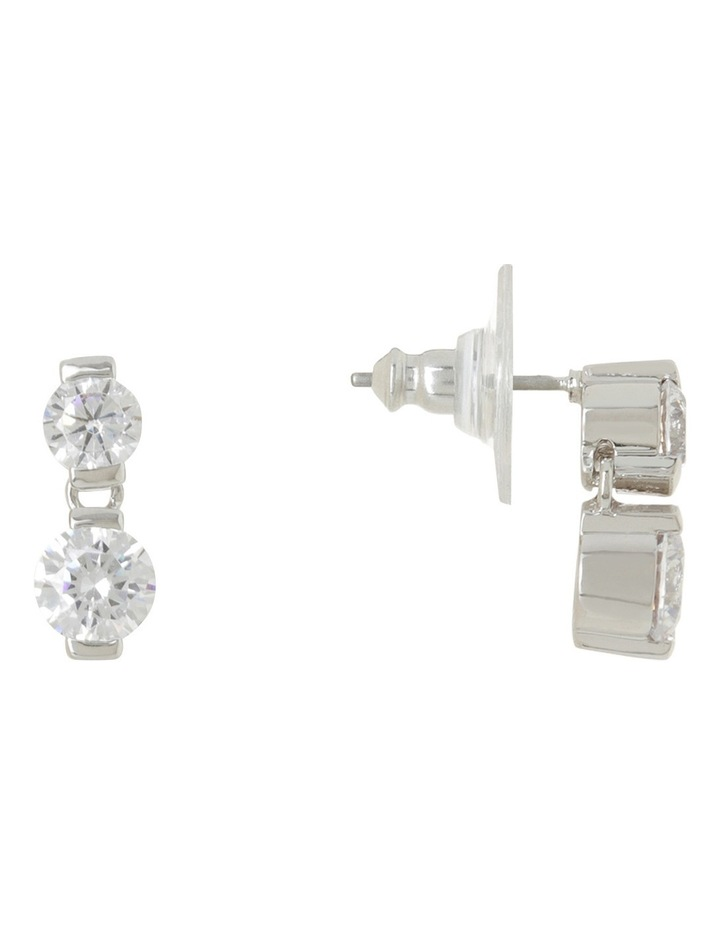 Small Double CZ Earrings image 2