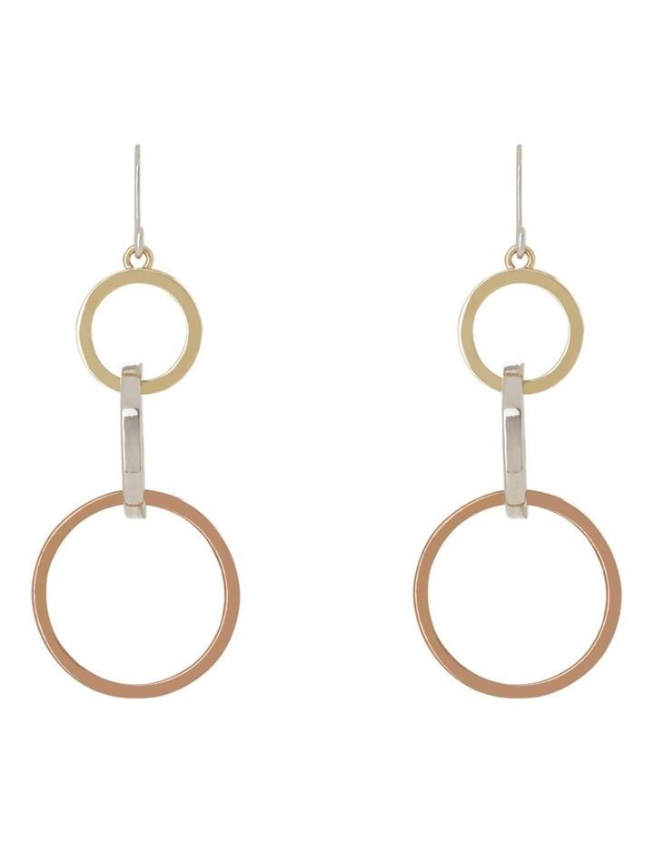Graduated Tri-Colour Three Hoop Drop Earring image 1