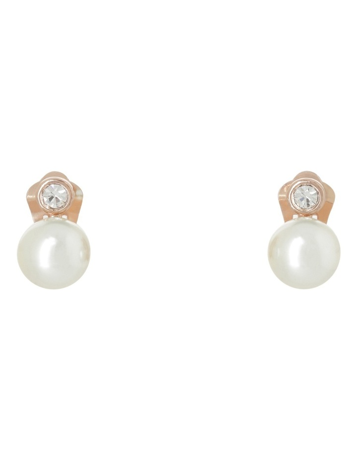 Large CZ and Faux Pearl Earring image 1
