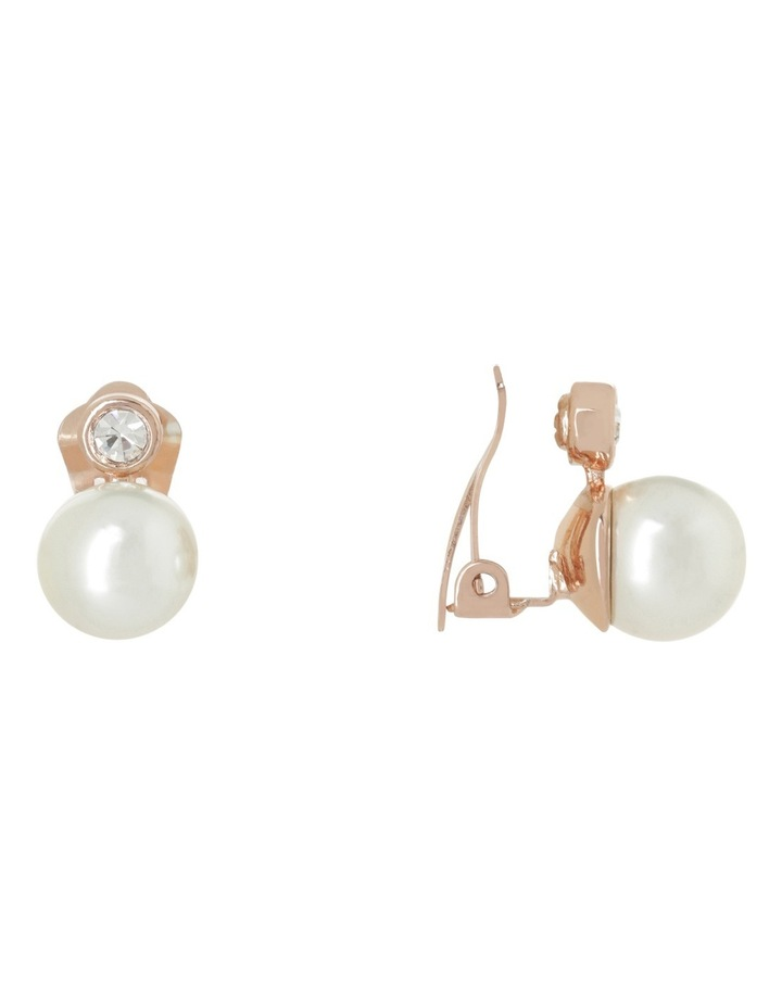Large CZ and Faux Pearl Earring image 2