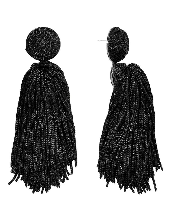 Round Top String Tassel Earrings image 1