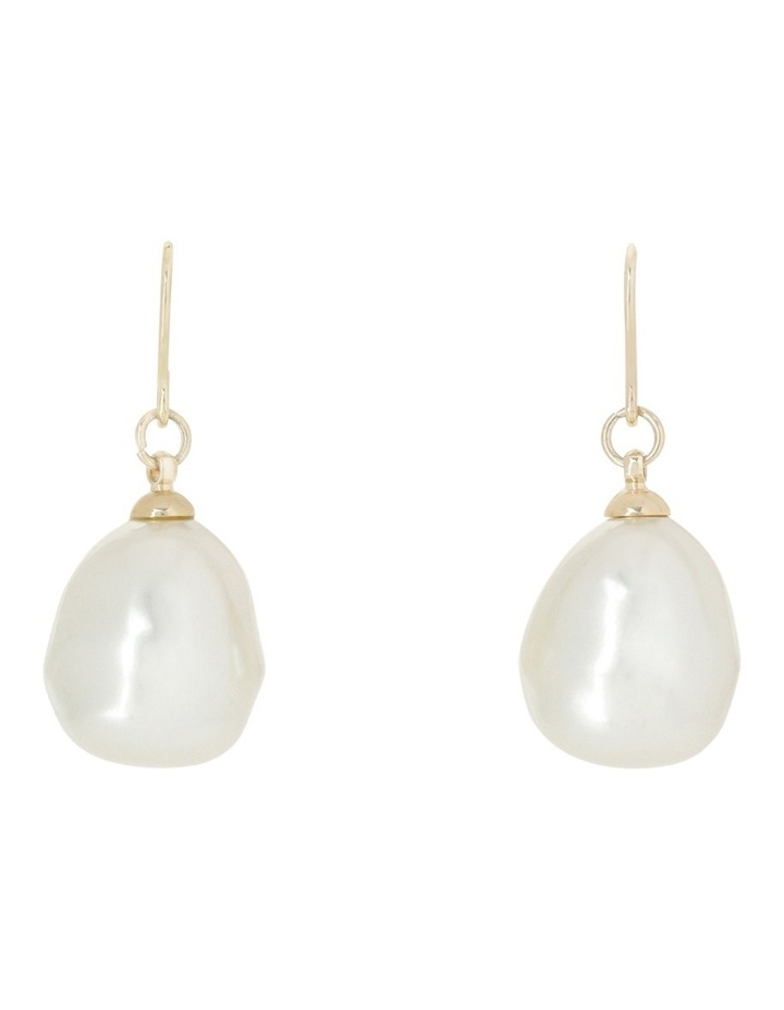 Large Faux Pearl Drop Earring image 1