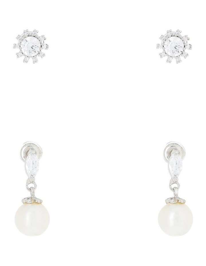 Rhodium Cz Stud And Pearl Earring Box Set image 1