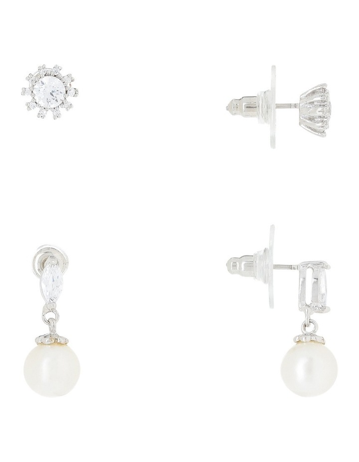 Rhodium Cz Stud And Pearl Earring Box Set image 2