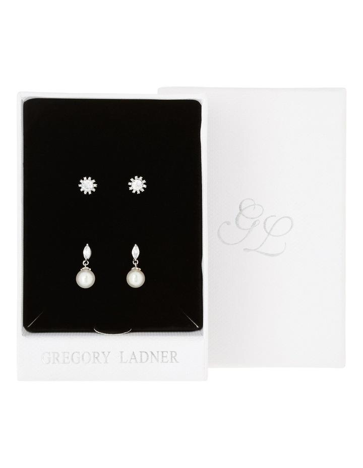 Rhodium Cz Stud And Pearl Earring Box Set image 3