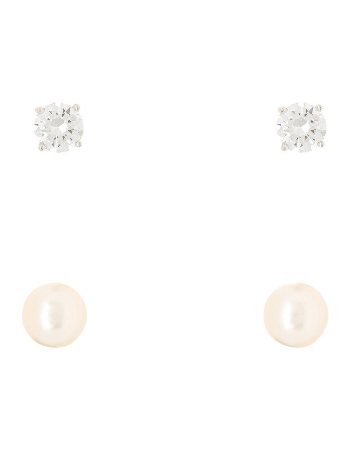 Rhodium Cz Stud And Pearl Stud Earring Box Set image 1