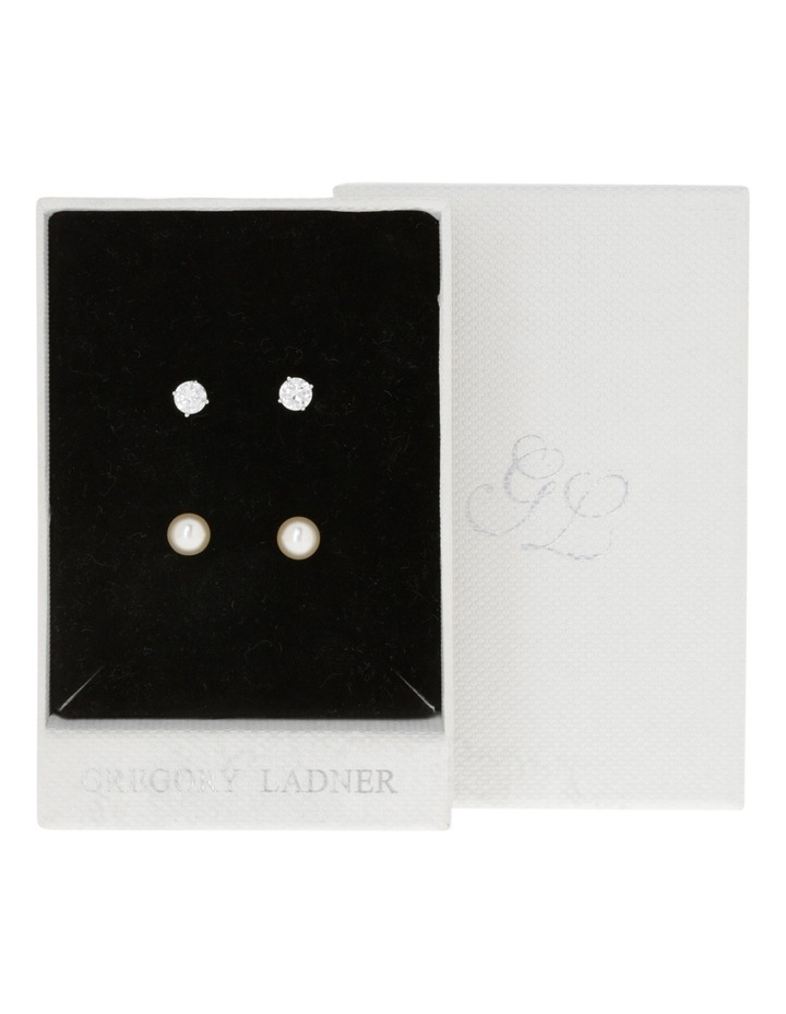 Rhodium Cz Stud And Pearl Stud Earring Box Set image 3