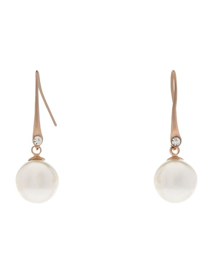 Faux Round Pearl With CZ Drop Earring image 1