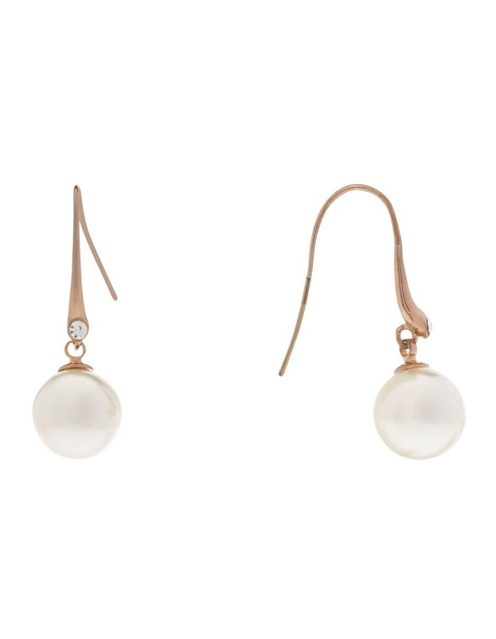 Faux Round Pearl With CZ Drop Earring image 2