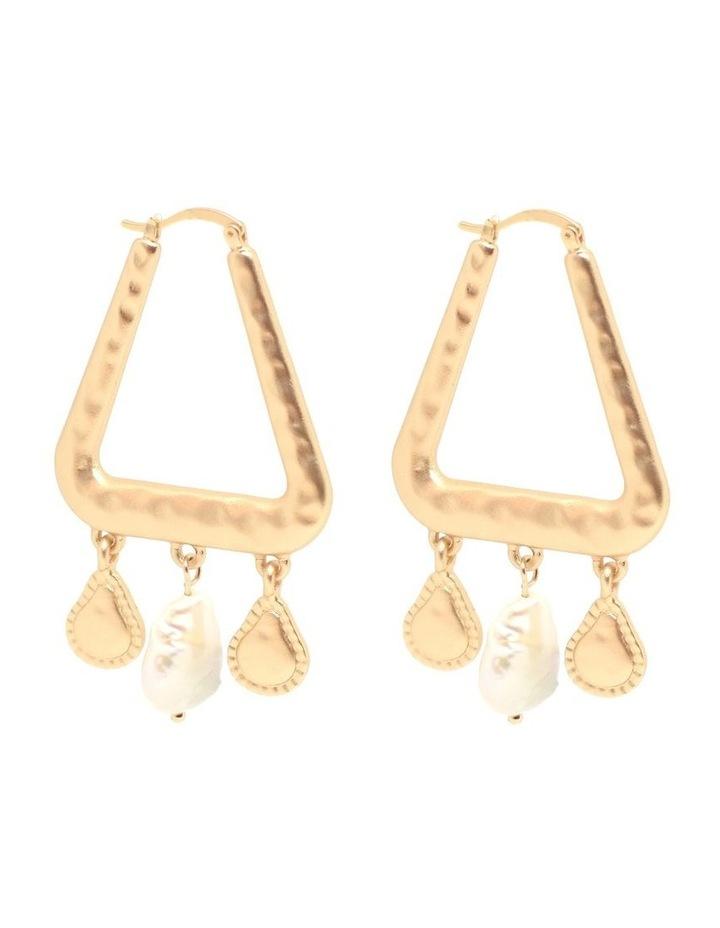 Geo Pearl Earring Gold image 1