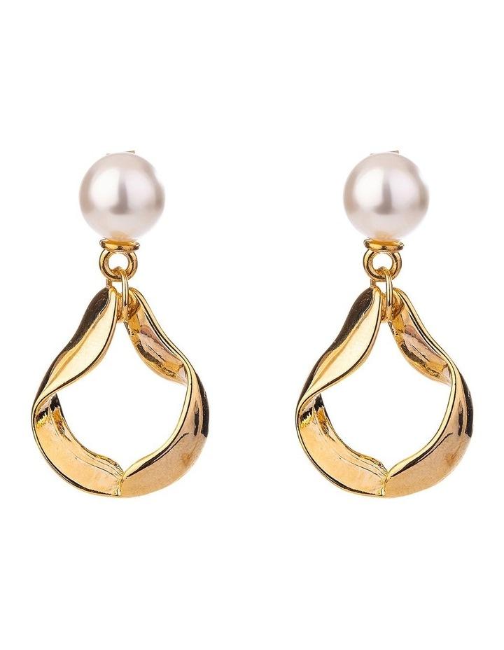 Pearl Twisted Metal Drop Earring image 1