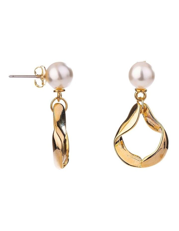 Pearl Twisted Metal Drop Earring image 2
