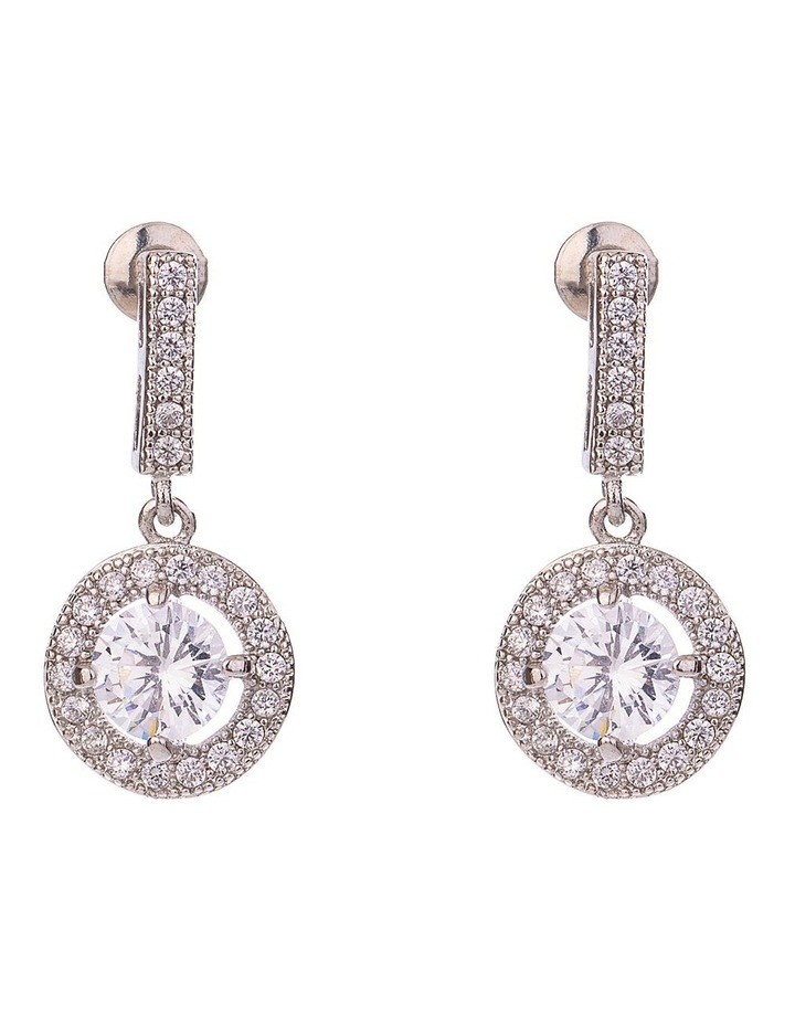 CZ Drop Earring With Halo Surround image 1