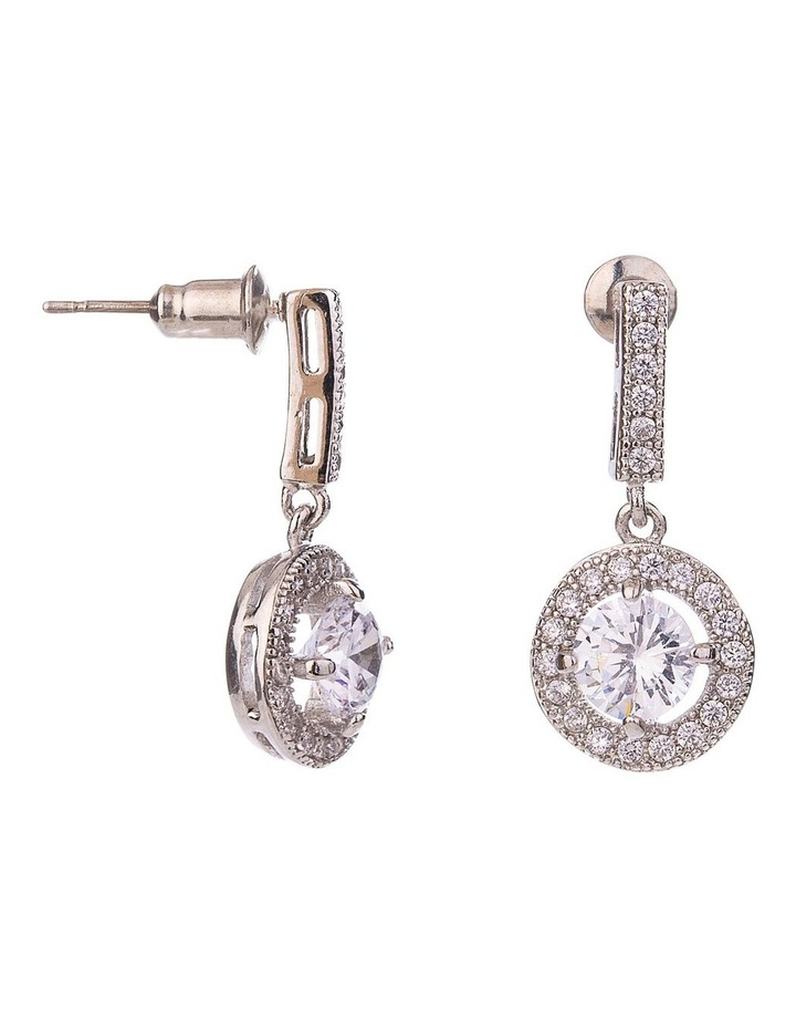 CZ Drop Earring With Halo Surround image 2