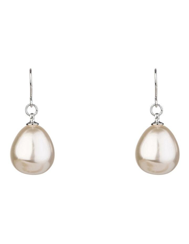 Large Faux Pearl Drop Earrings image 1