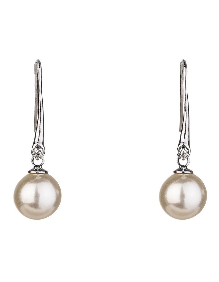 Drop Pearl Earrings With Cz image 1