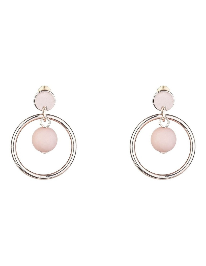 Circle Drop Earrings With Pink Ball image 1