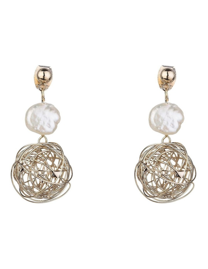Pearl Drop Earrings With Wire Ball image 1