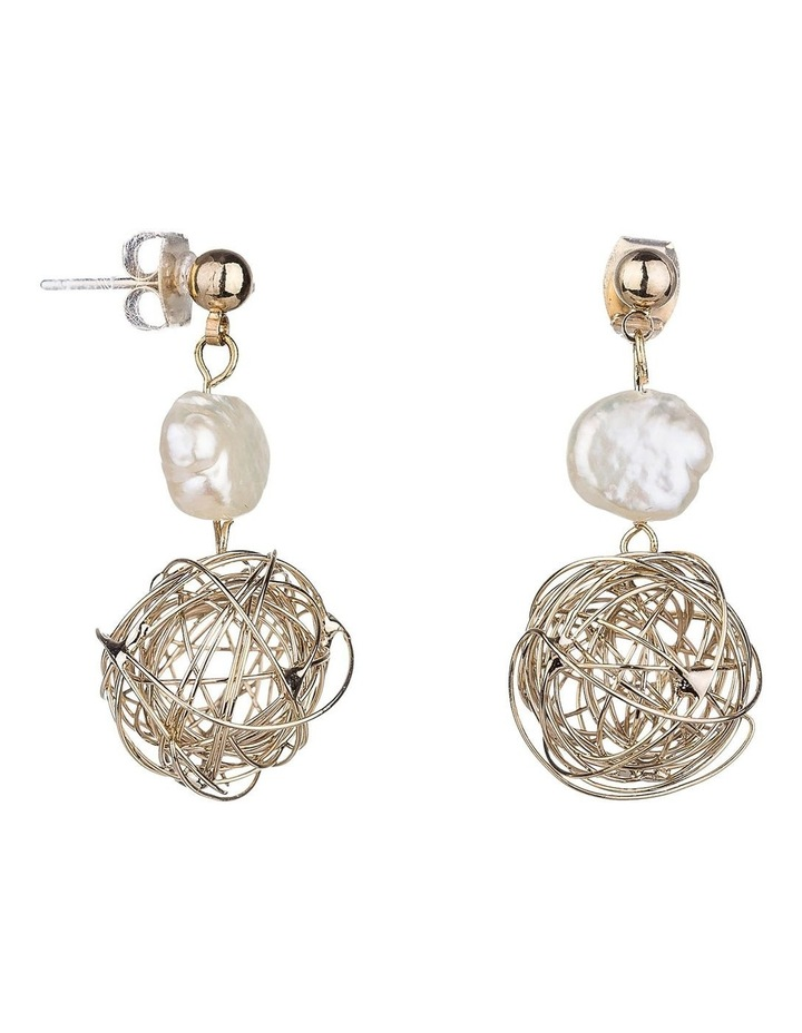Pearl Drop Earrings With Wire Ball image 2