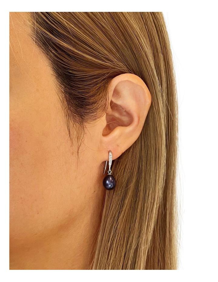Elegant Peacock Black Pearl Drop Earrings image 2