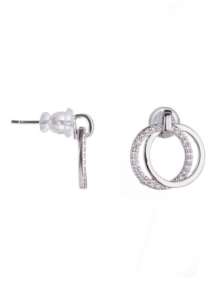 Drop Circle CZ Earrings image 2