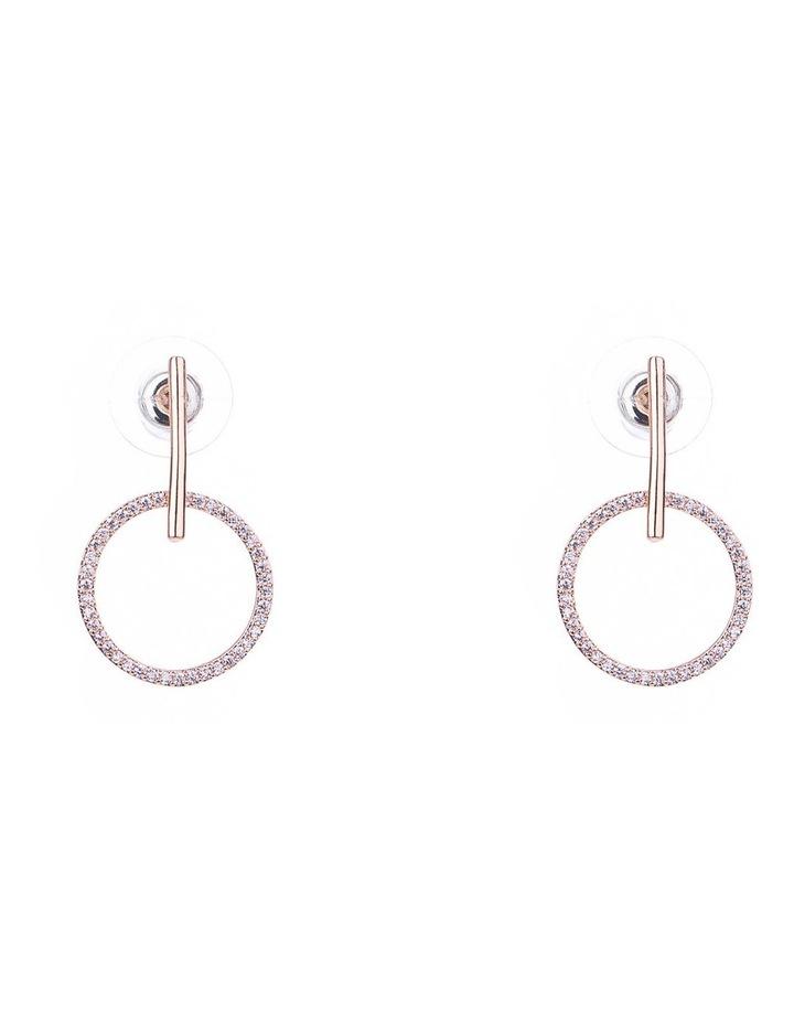 Fine Drop CZ Circle Earrings image 1