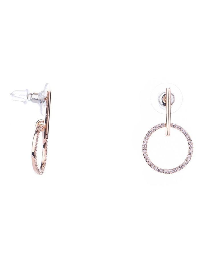 Fine Drop CZ Circle Earrings image 2