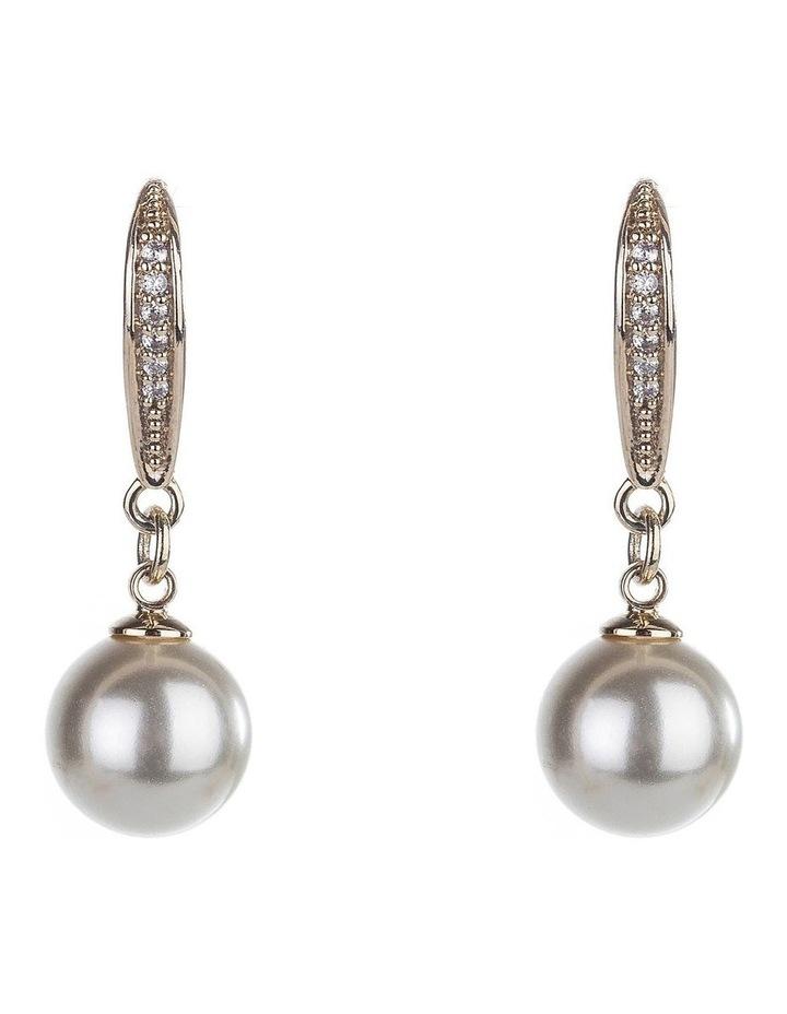 Drop Micro CZ & Pearl Earrings image 1