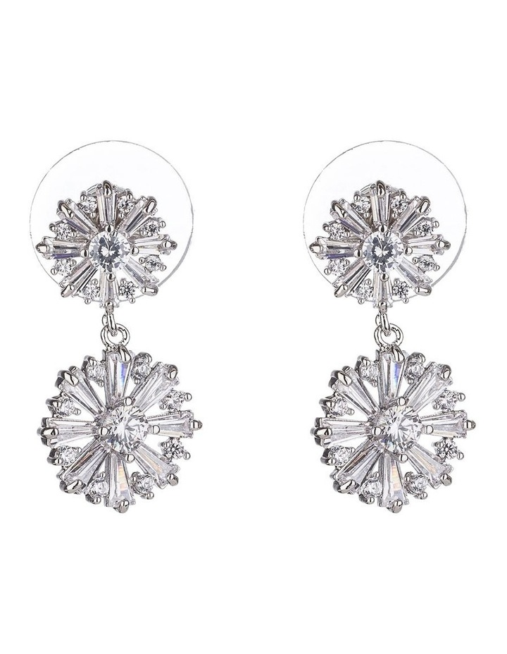 Flower CZ Drop Earrings image 1
